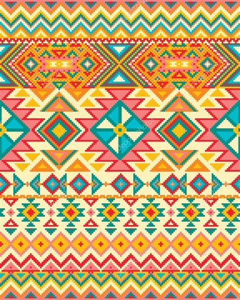 aztec colors bright seamless background with pixel pattern in aztec