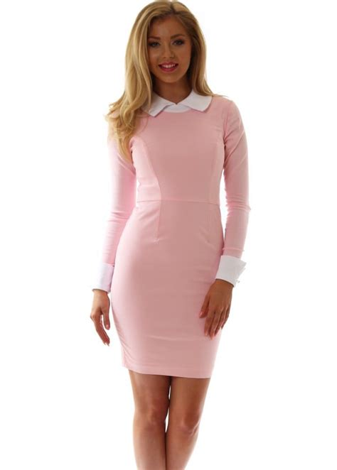 Abby Baby Pink tempest dress in baby pink with white collar cuffs