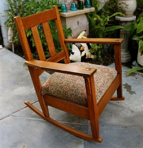 stickley mission style rocking chair antique stickley arts and crafts mission style oak rocker