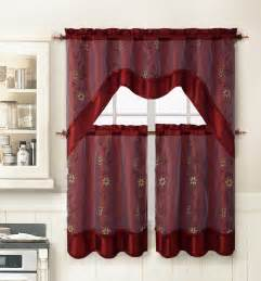 burgundy 3 pc kitchen window curtain set 2 layer