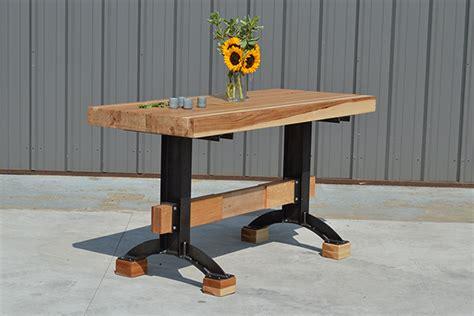 rustic butcher block table butcher block bar with kegerator storage the industrial