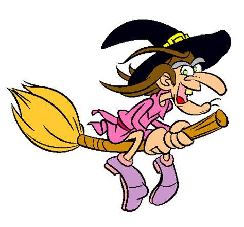 imagenes de brujas volando halloween dibujo de bruja en escoba voladora 2 pintado por lopety en