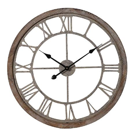 weathered wood and metal wall clock by the orchard notonthehighstreet