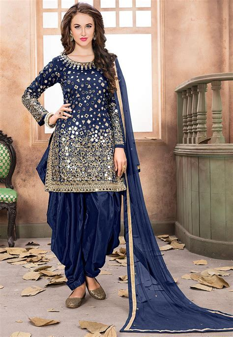 Embroidered Taffeta Silk Punjabi Suit in Navy Blue : KCH974