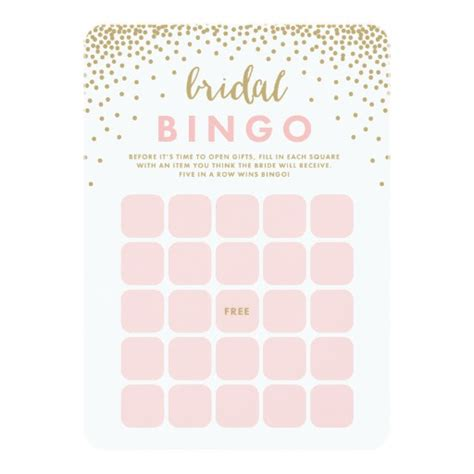 bridal shower bingo card template confetti shower bridal bingo cards zazzle