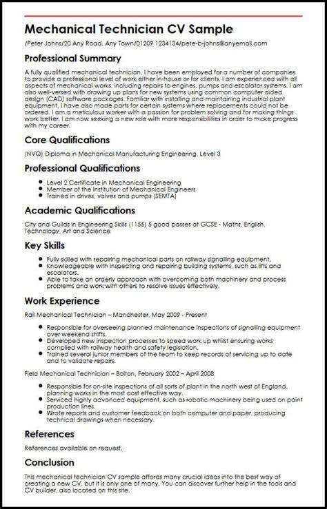 mechanical maintenance technician resume format mechanical technician cv sle myperfectcv