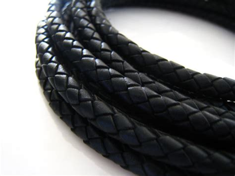 6mm Braided Cord - leather cord 6mm black leather cord braided bolo