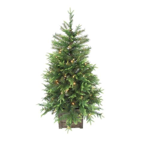 hillside 4ft pre lit cbrostmasf home accents 4 ft pre lit grand fir potted artificial tree with 100 clear