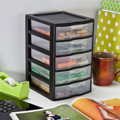 Plastic Desktop Storage small 5 drawer box pack of 4 storage cabinet plastic