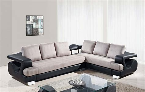 black and grey microfiber sectional global furniture usa 7208 2 piece sectional sofa black