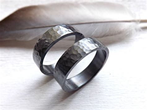 black silver wedding bands matching rings