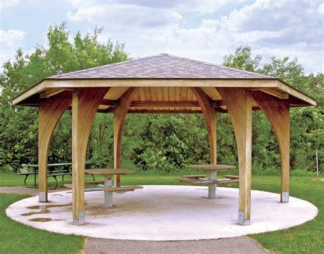 wood single roof charleston hexagon pavilions