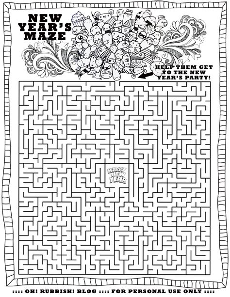 printable mazes word searches happy new year maze by oh rubbish blog misc