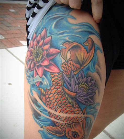 koi fish tattoo leg designs fish tattoos designs pictures