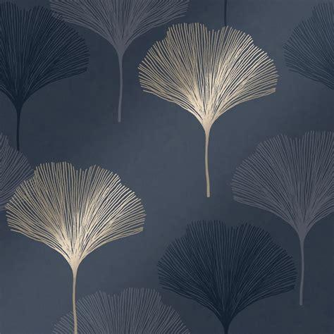 gingko leaf wallpaper navy gold wallpaper   love