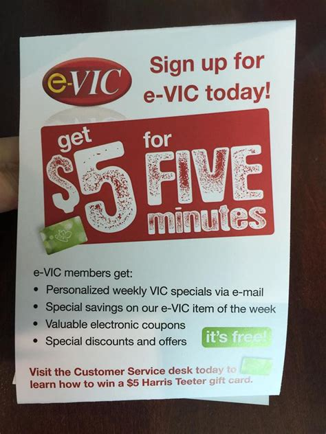 Harris Teeter Gift Card - 5 for signing up as an e vic member the harris teeter deals