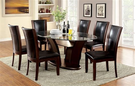 Oval Glass Dining Table Sets Manhattan Cherry Finish Oval Glass 7 Dining Table Set