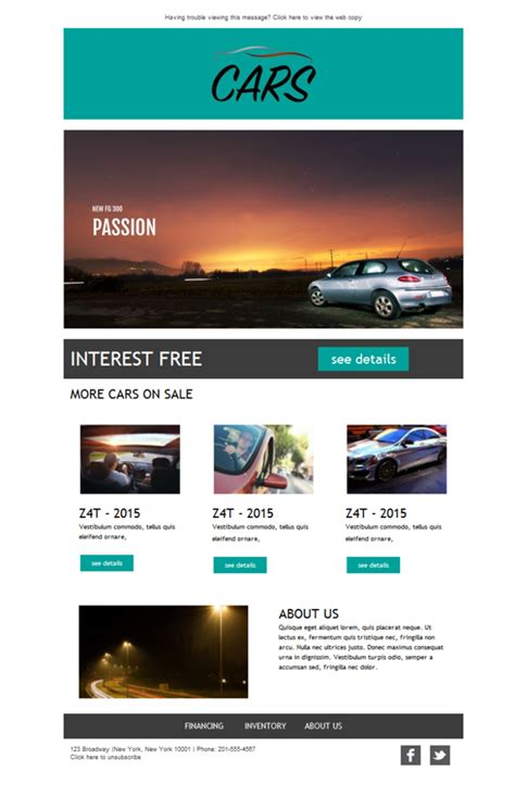 Plantilla De Newsletter Responsive Gratis Quot Car Dealership Quot Para Email Marketing Mailify Car Dealer Email Templates