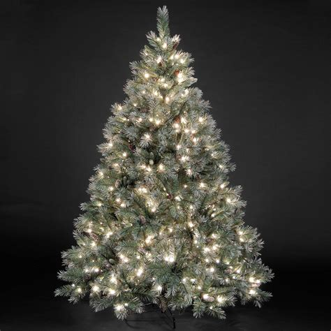 5ft 7 5ft quot pre lit quot frosted emerald fir christmas tree