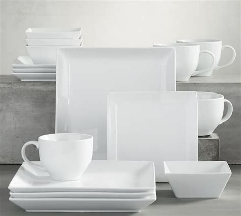 pottery barn china great white square dinnerware pottery barn