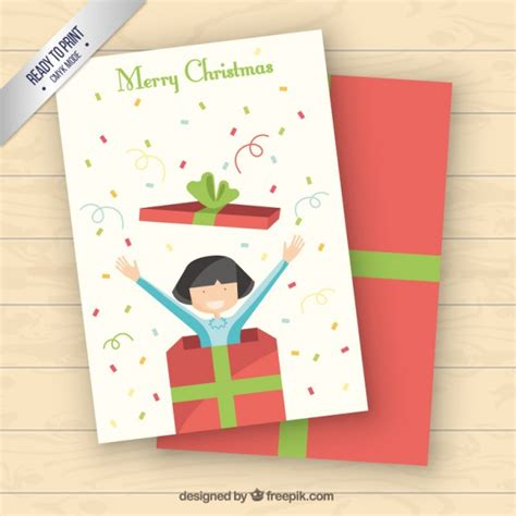 merry christmas card with a gift box vector free download