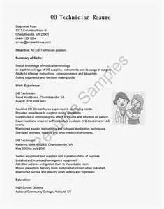 resume samples ob technician resume sample