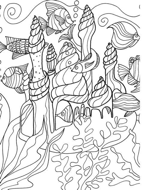 free coloring pages of fish under the sea