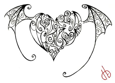 devil heart coloring page pin devils hearts heart fire devil tattoo with wings on