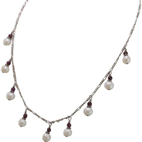 Garnet Necklace Sterling Silver sterling silver cultured pearl garnet bead necklace
