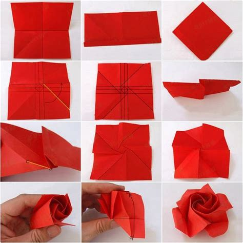 Folded Paper Roses - paper craft ideas d i y valentines