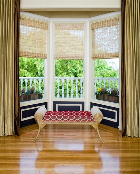 contemporary window treatments for bay windows