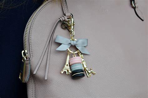 Laudree Bag Charm Grey Won pink stripes and laduree macaron keychain jacquardflower