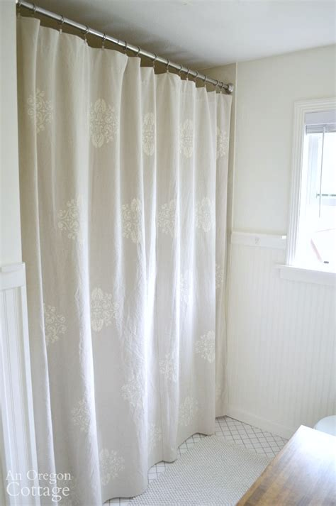 stenciled drop cloth curtains how to stencil a drop cloth shower curtain