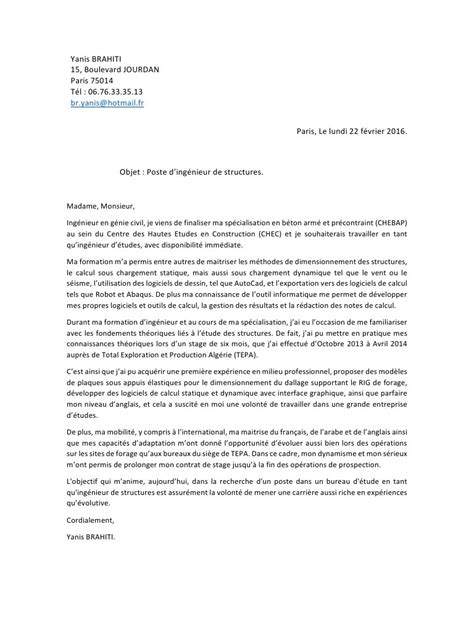 Conseil Lettre De Motivation Ingénieur Exemple Lettre De Motivation Stage Fin D Etude Ingenieur Document