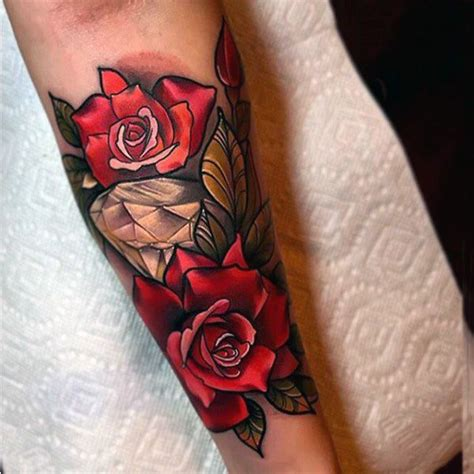 rose with diamond tattoo best 25 traditional ideas on
