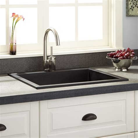 24 Quot Holcomb Drop In Granite Composite Sink Black Kitchen Drop In Kitchen Sinks