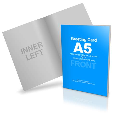 a5 folded card template bi fold a5 greeting card mockup cover actions premium