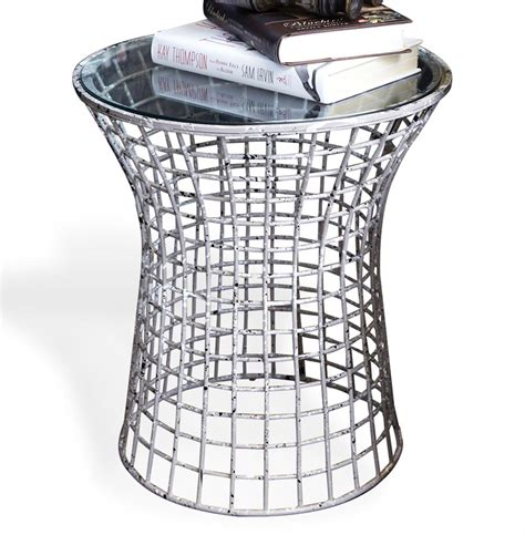 Wire Side Table Antique Grey Paint Splatter Wire Frame Side Table Kathy Kuo Home