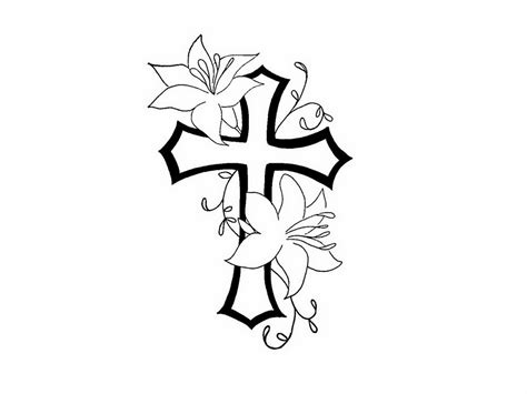 tattoo cross designs free free designs cross flower contour tattoo women 5468415