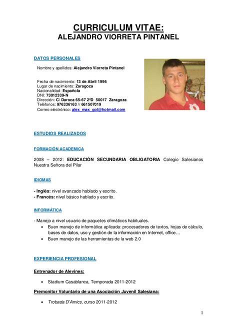 Modelo De Curriculum De Jugador De Futbol curriculum alejandro viorreta