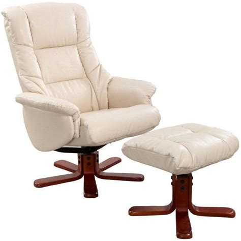 Gfa Shanghai Cream Bonded Leather Swivel Recliner Chair