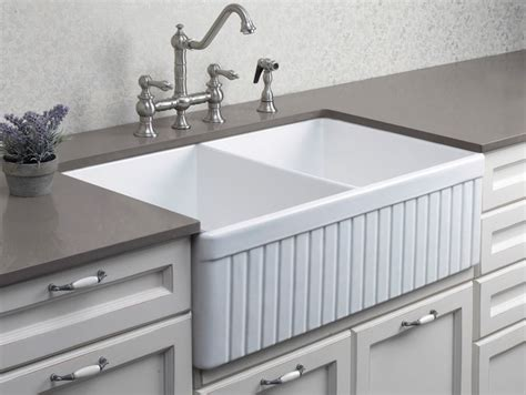 double sinks for kitchen alfi ab537 32 3 4 quot fluted double bowl fireclay farmhouse
