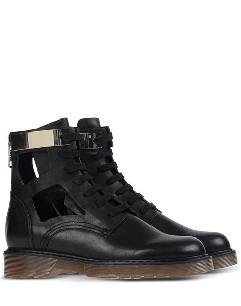 see by boots see by chlo 233 cutout lace up boots in black lyst