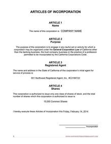 free article of incorporation template free california articles of incorporation template