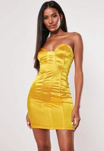 yellow satin corset mini dress missguided