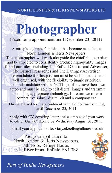 Photography Resume Example by English Corner Jobs