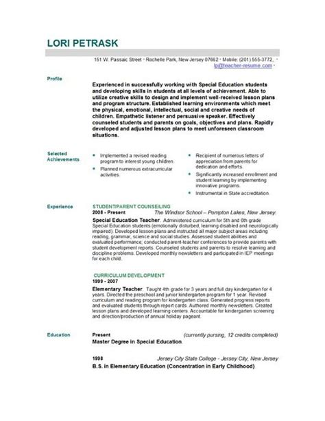 Sle Resume Education Experience Best Summer Resume For Teachers Sales Lewesmr