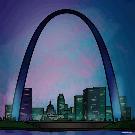 how to draw the gateway arch gateway arch step by step