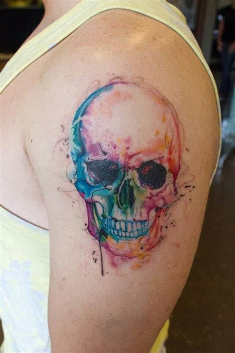 watercolor tattoo artists california rainbow water color skull tattoos