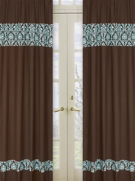 Turquoise Window Treatments Turquoise And Brown Window Treatment Panels Set Of